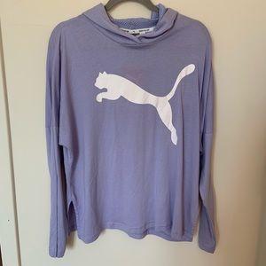 Puma light purple logo lightweight hoodie